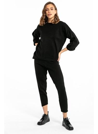 Tiffany&Tomato Duble Paça Havuç Triko Pantolon - Taba Siyah